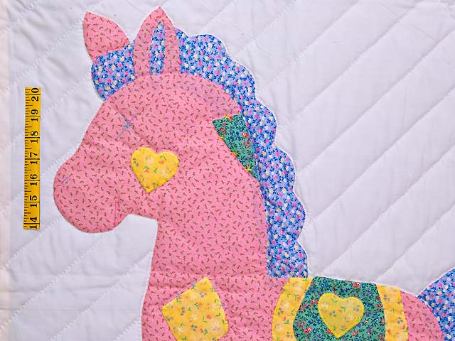 Yellow and Green Rocking Horse Crib Quilt Photo 3