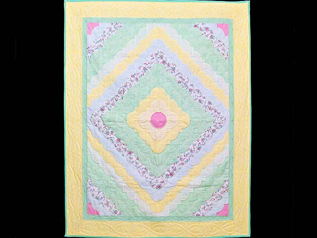 Yellow Green Pastel Ocean Wave Crib Quilt Photo 1