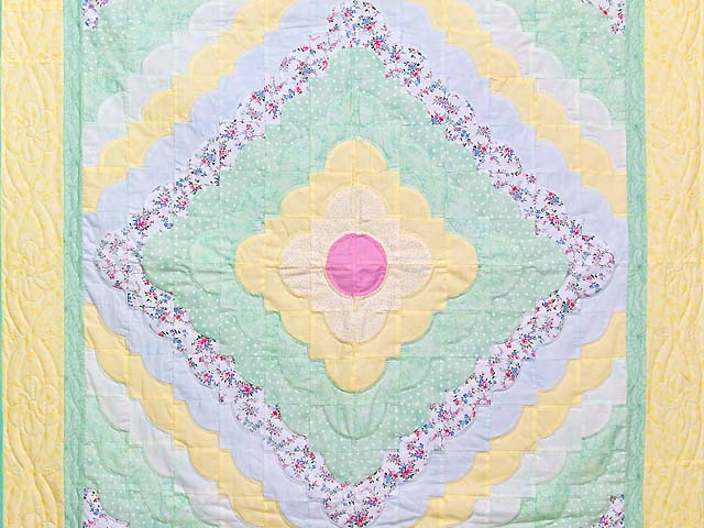 Yellow Green Pastel Ocean Wave Crib Quilt Photo 2