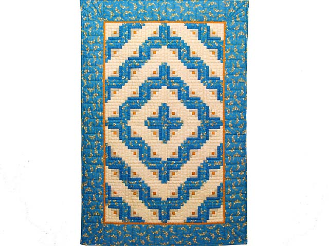 Blue and Gold Log Cabin Crib Quilt Photo 1