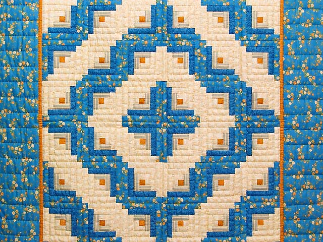 Blue and Gold Log Cabin Crib Quilt Photo 2