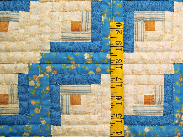 Blue and Gold Log Cabin Crib Quilt Photo 3