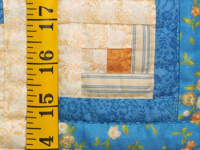 Blue and Gold Log Cabin Crib Quilt Photo 4
