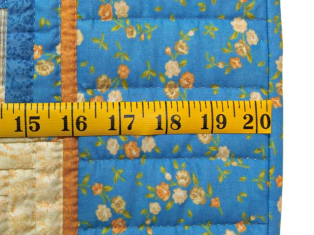 Blue and Gold Log Cabin Crib Quilt Photo 5