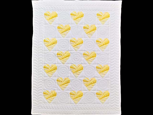 Yellow and Cream Patchwork Hearts Crib Quilt Photo 1