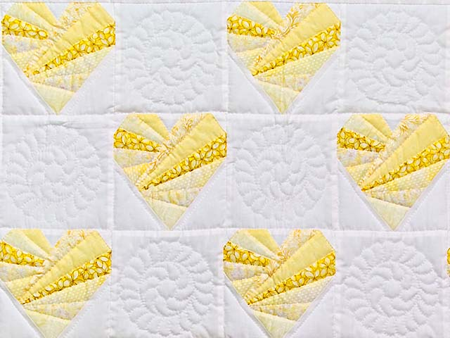 Yellow and Cream Patchwork Hearts Crib Quilt Photo 2