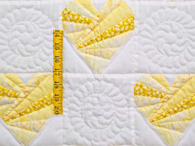 Yellow and Cream Patchwork Hearts Crib Quilt Photo 3