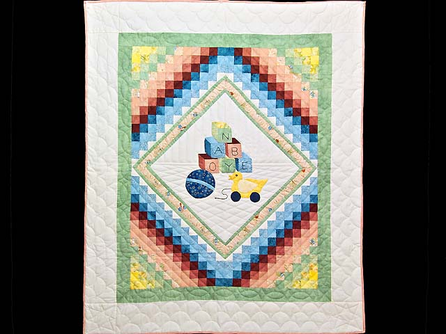 Green and Pastel ABC Crib Quilt Photo 1