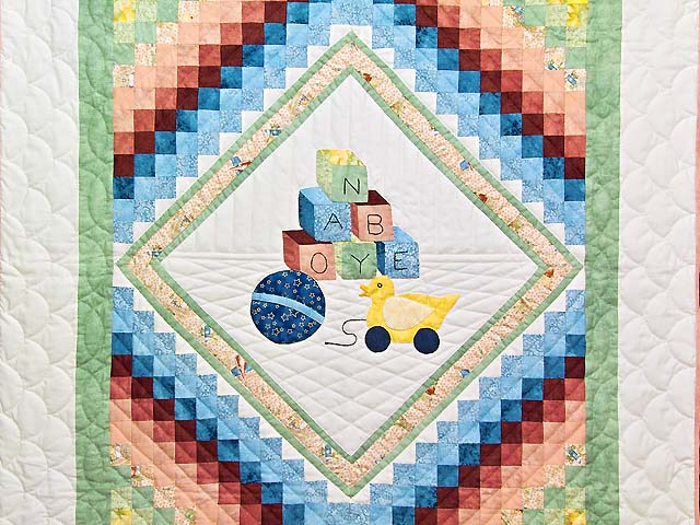 Green and Pastel ABC Crib Quilt Photo 2