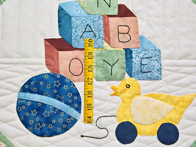 Green and Pastel ABC Crib Quilt Photo 4