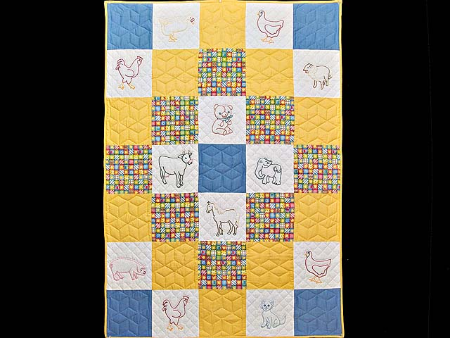 Blue Gold and Cream Embroidered Animals Crib Quilt Photo 1