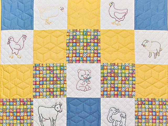 Blue Gold and Cream Embroidered Animals Crib Quilt Photo 2