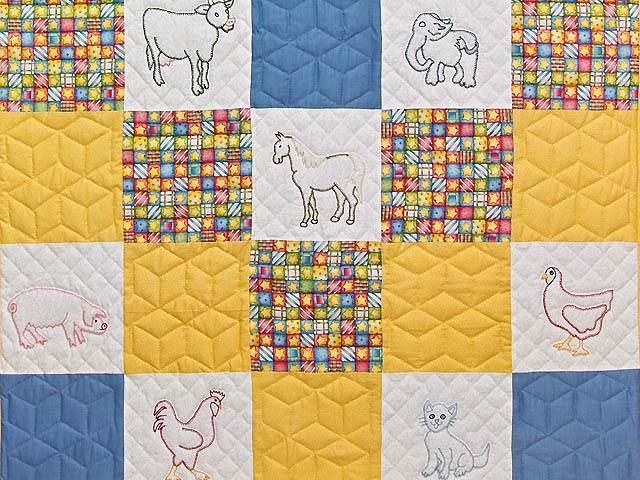 Blue Gold and Cream Embroidered Animals Crib Quilt Photo 3