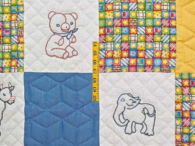 Blue Gold and Cream Embroidered Animals Crib Quilt Photo 4