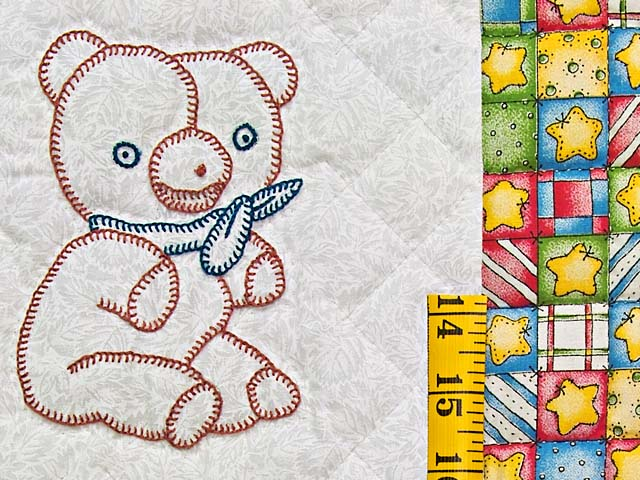 Blue Gold and Cream Embroidered Animals Crib Quilt Photo 5
