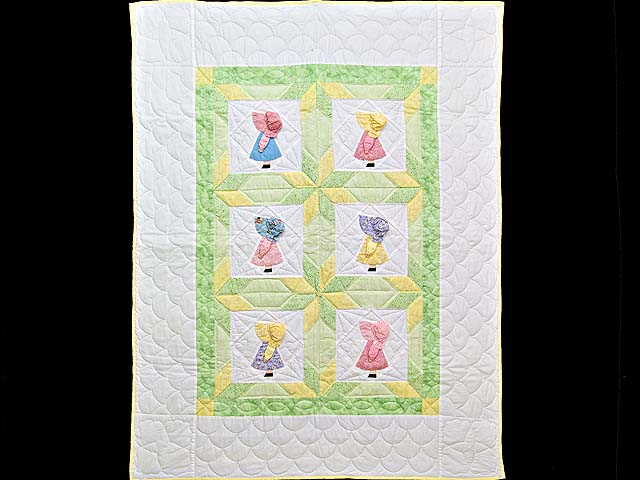 Pastel Green and Yellow Sunbonnet Sue Crib Quilt Photo 1