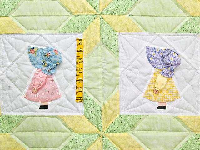 Pastel Green and Yellow Sunbonnet Sue Crib Quilt Photo 3