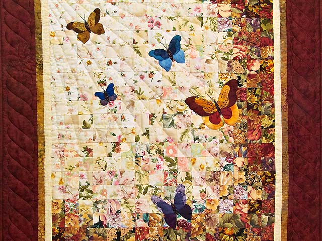 Burgundy and Gold Butterfly Journey Wall Hanging Photo 2