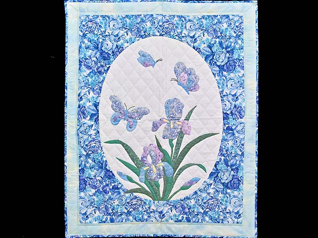 Blue and Lavender Iris Appliqué Wall Hanging Photo 1