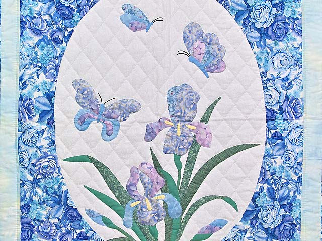 Blue and Lavender Iris Appliqué Wall Hanging Photo 2