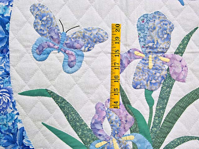 Blue and Lavender Iris Appliqué Wall Hanging Photo 3
