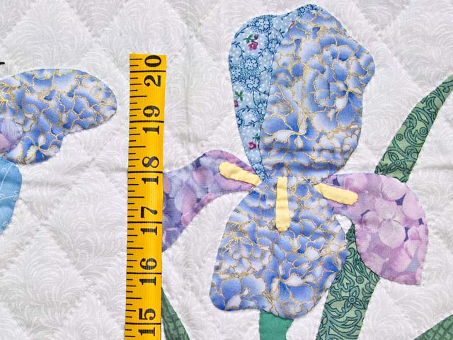 Blue and Lavender Iris Appliqué Wall Hanging Photo 4