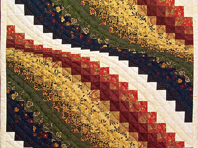 Burgundy Moss and Gold Bargello Wave Wall Hanging Photo 2