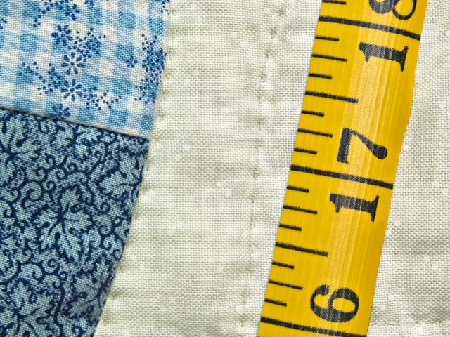 Blue and Cream Double Wedding Ring Crib Quilt Photo 7