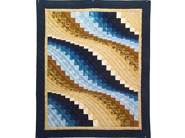 Blue and Tan Bargello Wave Photo 1