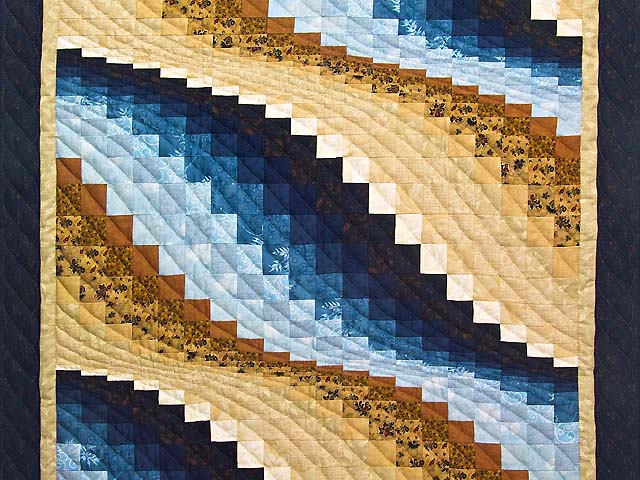 Blue and Tan Bargello Wave Photo 2