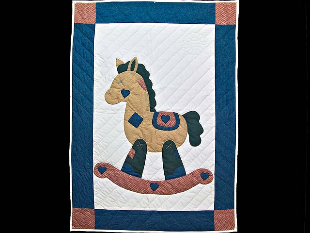 Navy and  Red Rocking Horse Crib Quilt Photo 1