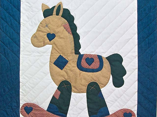Navy and  Red Rocking Horse Crib Quilt Photo 2