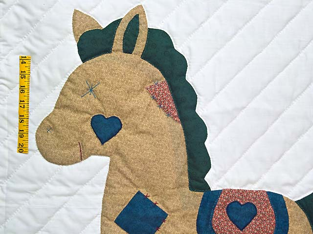 Navy and  Red Rocking Horse Crib Quilt Photo 3