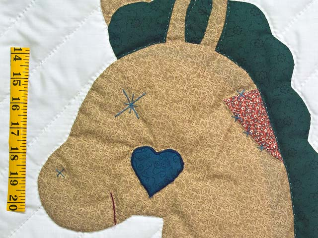 Navy and  Red Rocking Horse Crib Quilt Photo 4