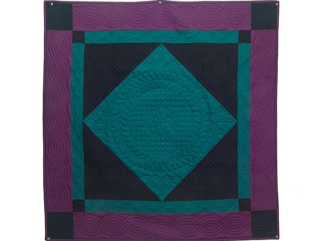 Extra Fine Teal and Purple Amish Center Diamond Wall Hanging Photo 1