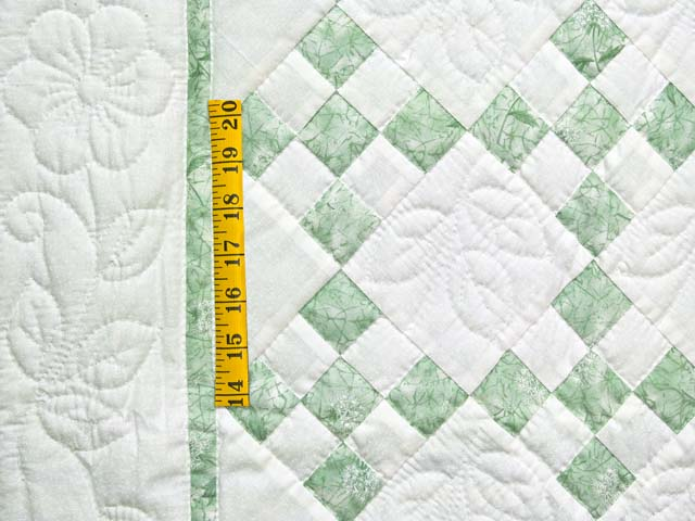Green and Cream Nine Patch Crib Quilt Photo 3