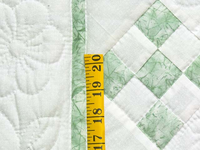 Green and Cream Nine Patch Crib Quilt Photo 4
