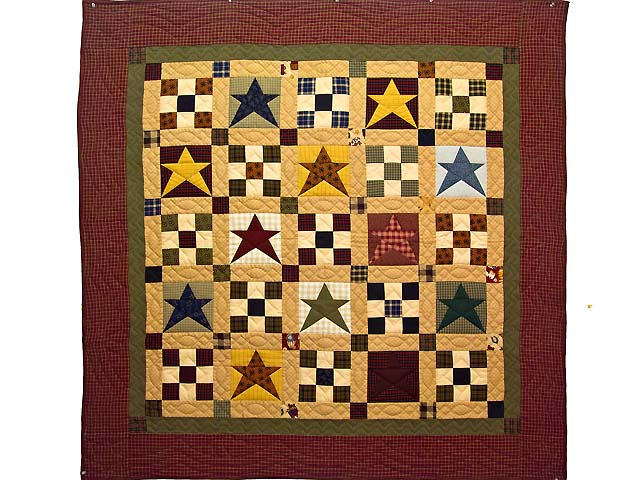 Homespun Stars and Nine Patch Throw Photo 1