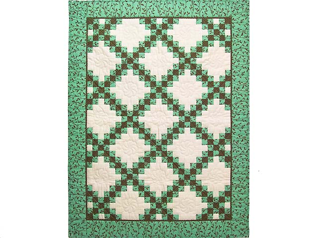 Teal Green and Brown Irish Chain Wall Hanging Photo 1
