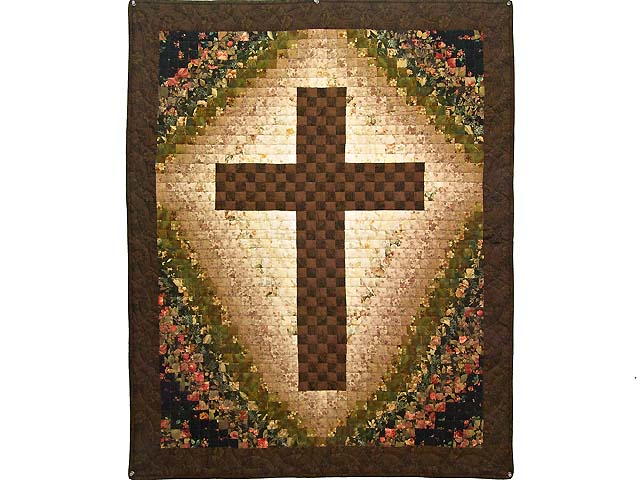 Brown Green and Rose Watercolor Cross Wall Hanging Photo 1