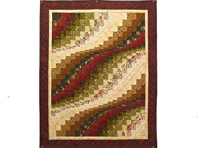 Burgundy Moss and Gold Bargello Wave Wall Hanging Photo 1