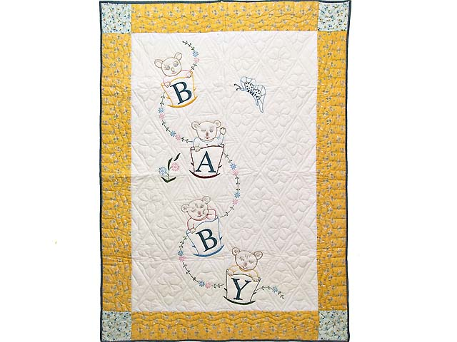 Bear BABY Embroidered Crib Quilt Photo 1