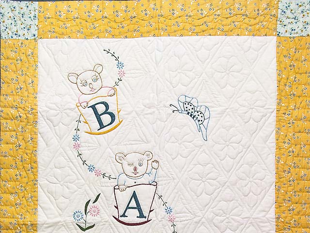 Bear BABY Embroidered Crib Quilt Photo 2