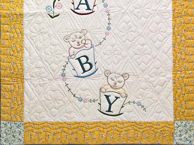 Bear BABY Embroidered Crib Quilt Photo 3