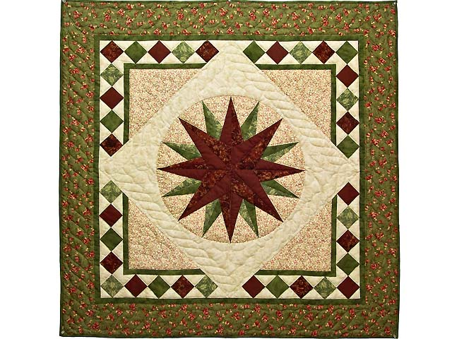 Green and Burgundy Compass Star Wall Hanging Photo 1