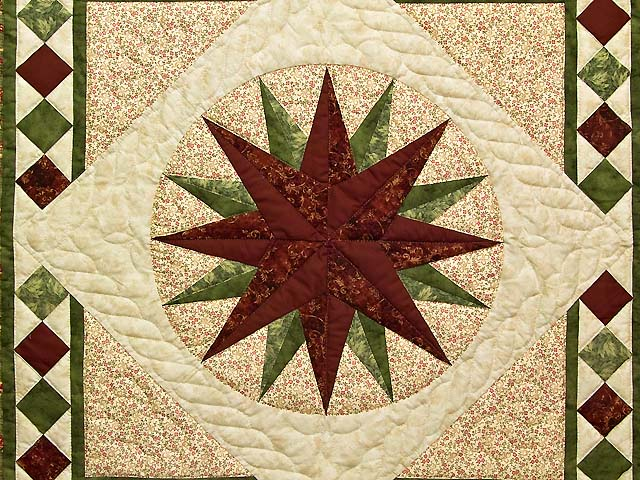 Green and Burgundy Compass Star Wall Hanging Photo 2