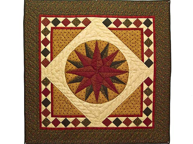 Moss Green and Burgundy Compass Star Wall Hanging Photo 1