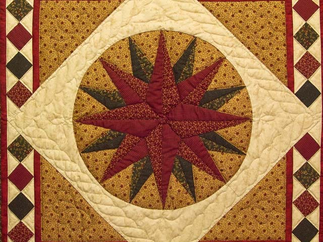 Moss Green and Burgundy Compass Star Wall Hanging Photo 2