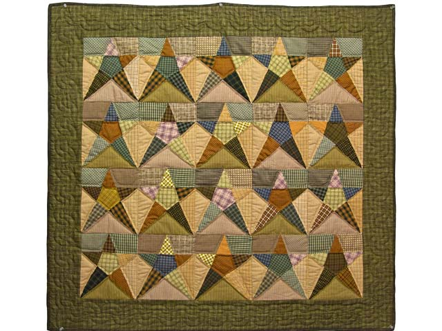 Moss Green Plaid Homespun Stars Wall Hanging Photo 1