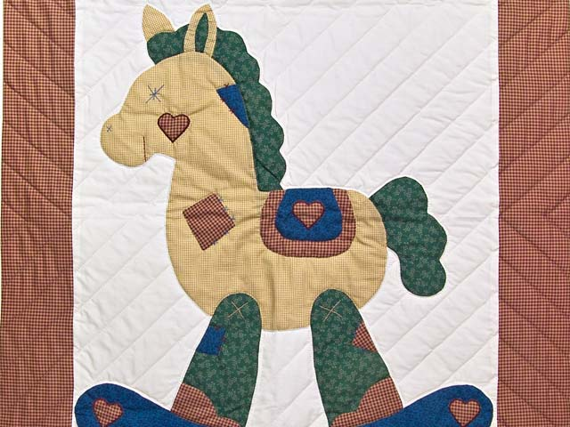 Red Plaid and Dark Blue Rocking Horse Crib Quilt Photo 2